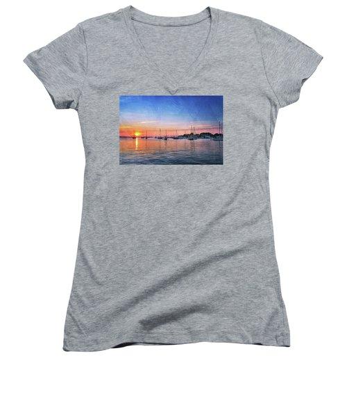 Good Morning Women's V-Neck T-Shirt (Junior Cut) by Edward Kreis