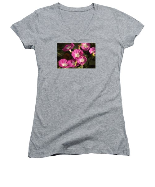 Women's V-Neck T-Shirt (Junior Cut) featuring the photograph Good Morning, Glory by Sheila Brown