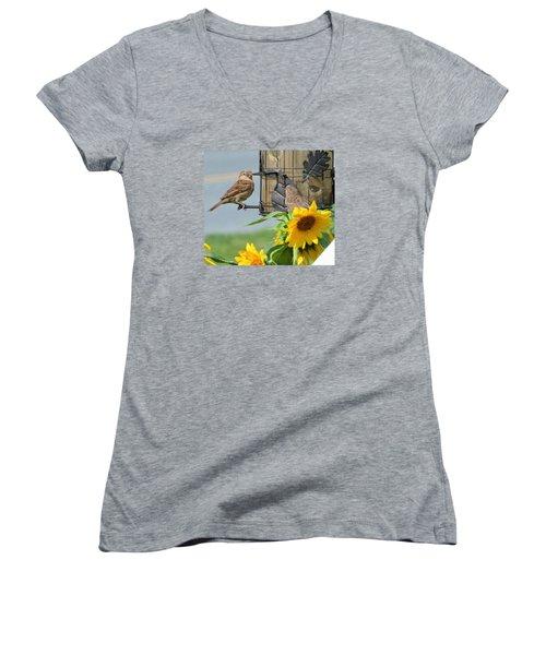 Good Morning Women's V-Neck T-Shirt (Junior Cut) by Jeanette Oberholtzer