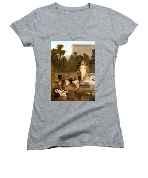 Goodall Frederik The Finding Of Moses Women's V-Neck T-Shirt (Junior Cut) by Frederick Goodall