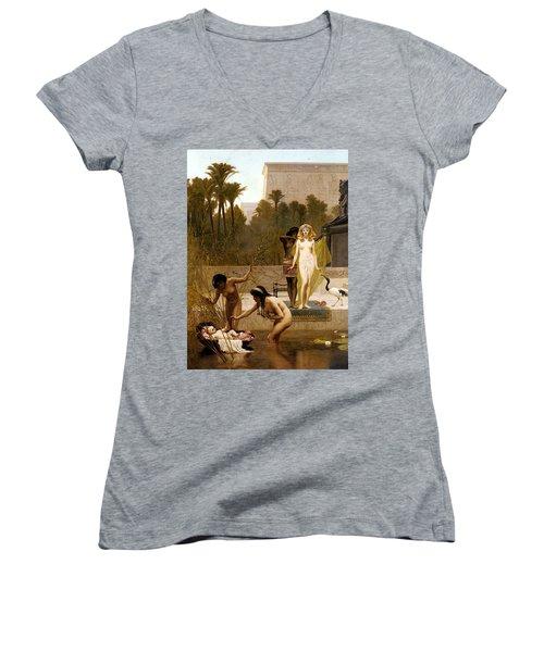 Goodall Frederik The Finding Of Moses Women's V-Neck T-Shirt