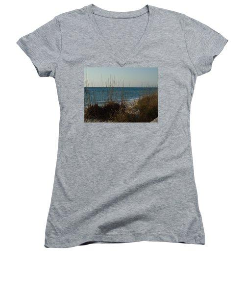 Women's V-Neck T-Shirt (Junior Cut) featuring the photograph Goodbye Cruel World by Robert Margetts