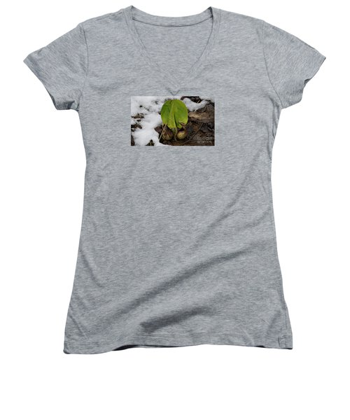 Women's V-Neck T-Shirt (Junior Cut) featuring the photograph Goodbye Winter by Randy Bodkins