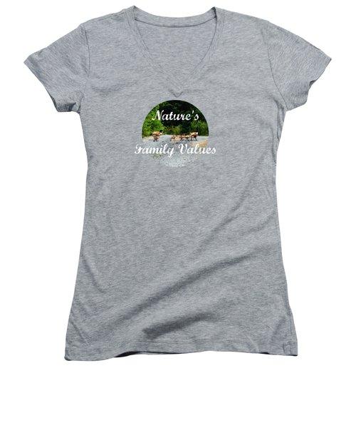 Goose Family Women's V-Neck T-Shirt (Junior Cut) by Anita Faye
