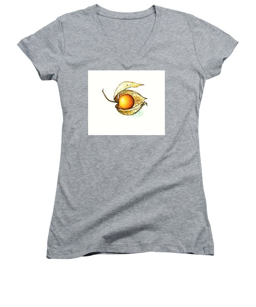Women's V-Neck T-Shirt (Junior Cut) featuring the painting Gooseberry by Heidi Kriel