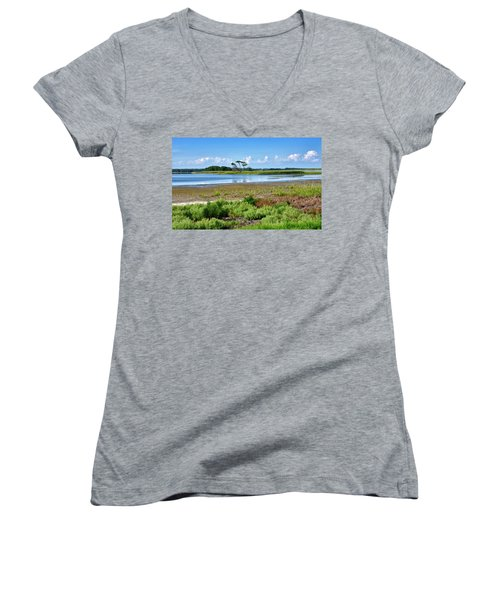 Women's V-Neck T-Shirt (Junior Cut) featuring the photograph Gordons Pond At Cape Henlopen State Park - Delaware by Brendan Reals