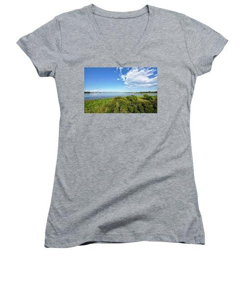 Women's V-Neck T-Shirt (Junior Cut) featuring the photograph Gordons Pond Overlook - Cape Henlopen State Park - Delaware by Brendan Reals