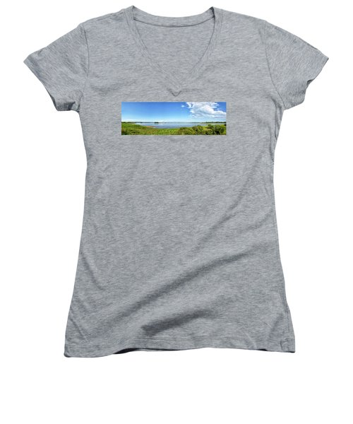 Women's V-Neck T-Shirt (Junior Cut) featuring the photograph Gordons Pond Panorama - Cape Henlopen State Park - Delaware by Brendan Reals
