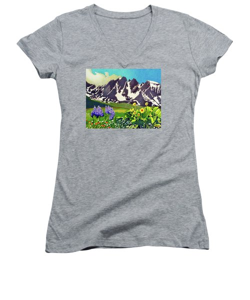Gore Range Wildflowers Women's V-Neck (Athletic Fit)