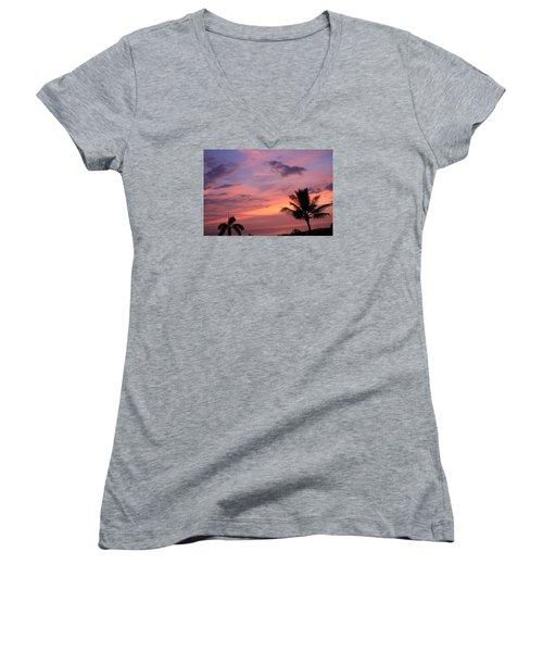 Women's V-Neck T-Shirt (Junior Cut) featuring the photograph Gorgeous Hawaiian Sunset - 2 by Karen Nicholson