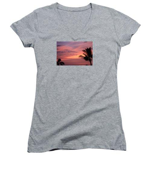 Women's V-Neck T-Shirt (Junior Cut) featuring the photograph Gorgeous Hawaiian Sunset - 3 by Karen Nicholson