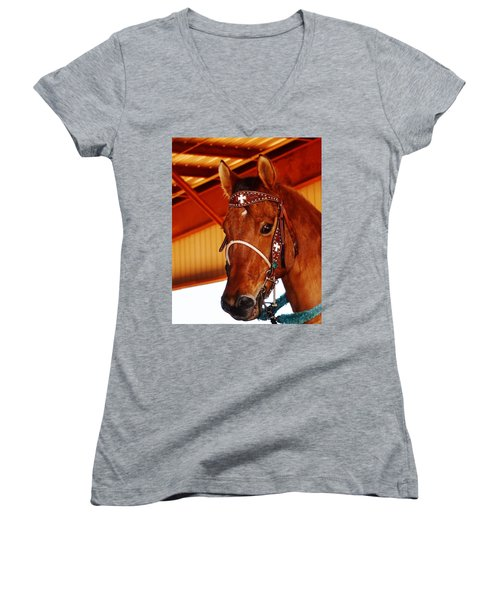 Gorgeous Horse And Bridle Women's V-Neck (Athletic Fit)