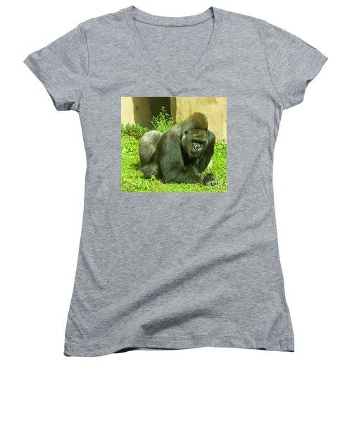 Gorilla Women's V-Neck T-Shirt (Junior Cut) by Irina Afonskaya
