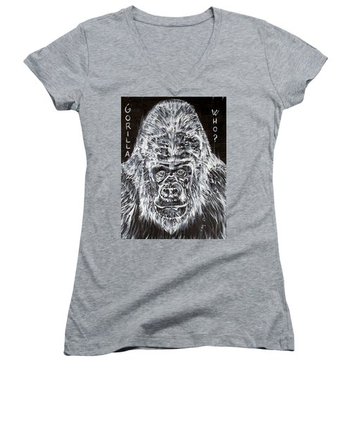 Women's V-Neck T-Shirt (Junior Cut) featuring the painting Gorilla Who? by Fabrizio Cassetta