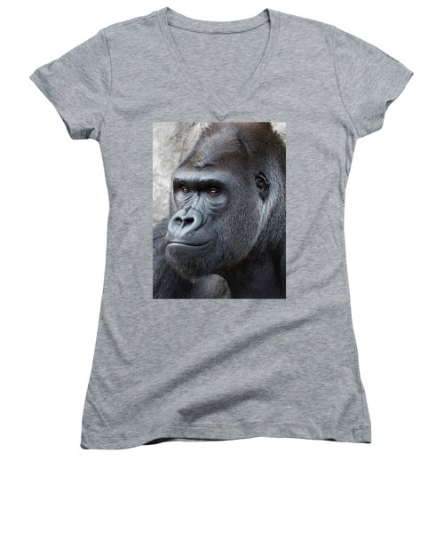 Gorillas In The Mist Women's V-Neck (Athletic Fit)