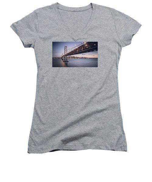 Gotham City Women's V-Neck T-Shirt (Junior Cut) by Eduard Moldoveanu