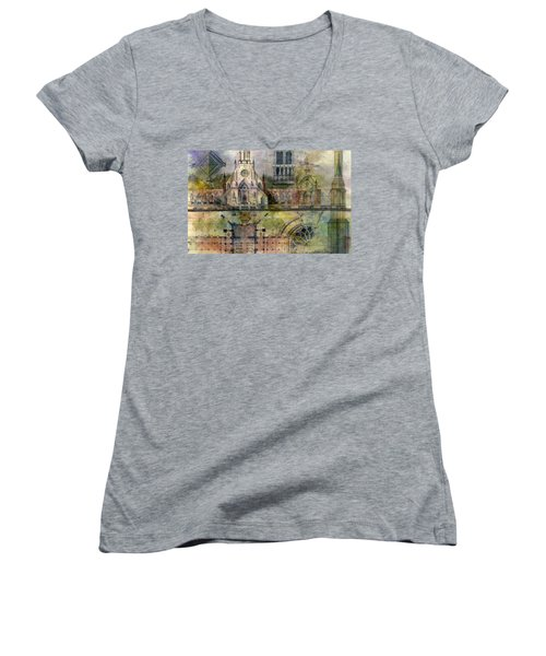Women's V-Neck featuring the painting Gothic by Andrew King