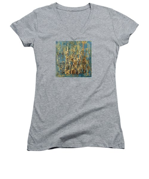 Women's V-Neck T-Shirt (Junior Cut) featuring the painting Gothic Church  by Arturas Slapsys