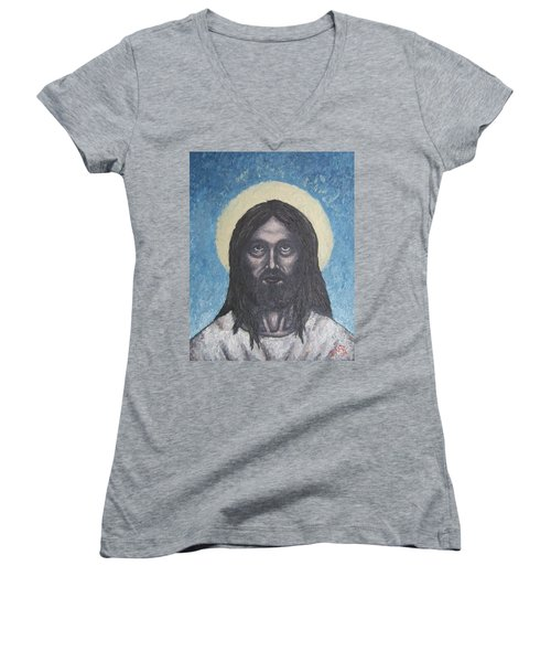 Women's V-Neck T-Shirt (Junior Cut) featuring the painting Gothic Jesus by Michael  TMAD Finney
