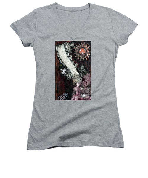 Women's V-Neck T-Shirt (Junior Cut) featuring the mixed media Gothic Punk Goddess by Genevieve Esson