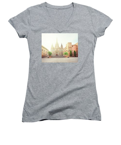 Gotic Cathedral  Of Barcelona Women's V-Neck T-Shirt