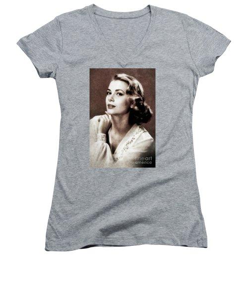 Grace Kelly, Actress, By Js Women's V-Neck T-Shirt