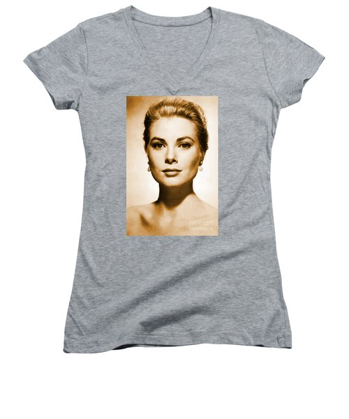 Grace Kelly Women's V-Neck T-Shirt (Junior Cut) by Opulent Creations