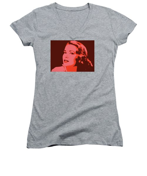 Grace Kelly Pop Art Women's V-Neck T-Shirt (Junior Cut) by Dan Sproul