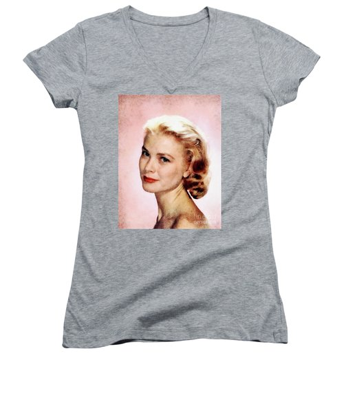 Grace Kelly, Vintage Actress Women's V-Neck T-Shirt