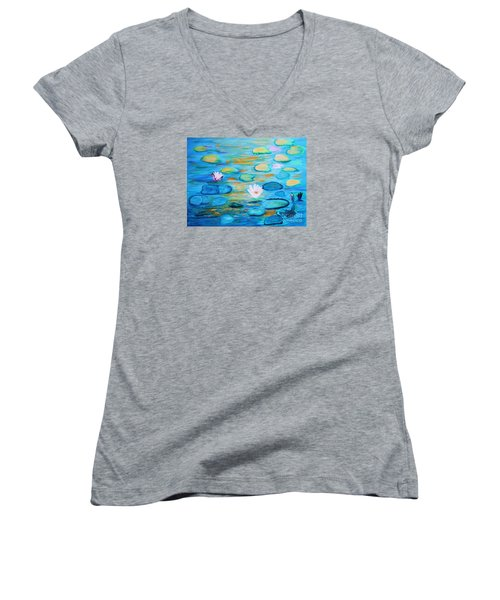 Women's V-Neck T-Shirt (Junior Cut) featuring the painting Graceful Pond From The Water Series by Donna Dixon