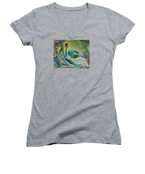 Graceful Swan Women's V-Neck T-Shirt (Junior Cut) by Denise Hoag