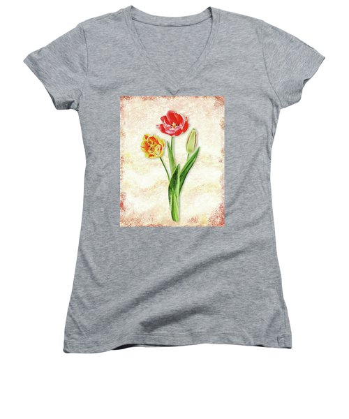 Women's V-Neck T-Shirt featuring the painting Graceful Watercolor Tulips by Irina Sztukowski