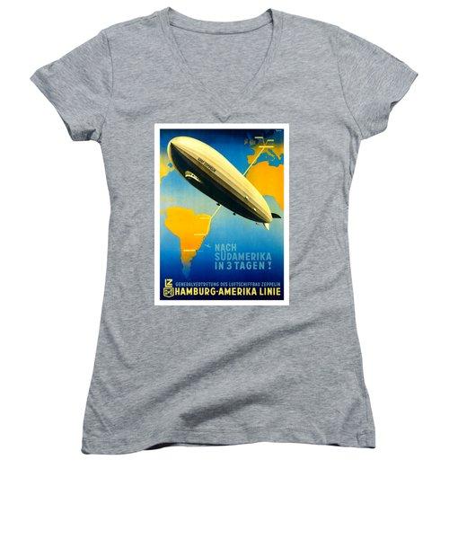 Graf Zeppelin Hamburg Amerika Line II 1936 Ottomar Anton Women's V-Neck T-Shirt