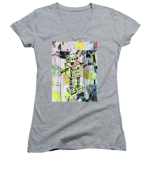 Graffiti Graphic Robot Women's V-Neck T-Shirt