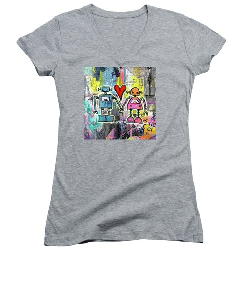 Graffiti Pop Robot Love Women's V-Neck T-Shirt