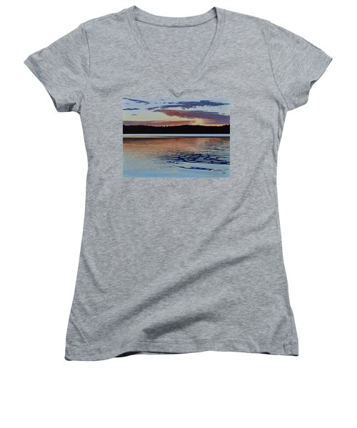 Women's V-Neck T-Shirt (Junior Cut) featuring the painting Graham Lake by Kenneth M Kirsch