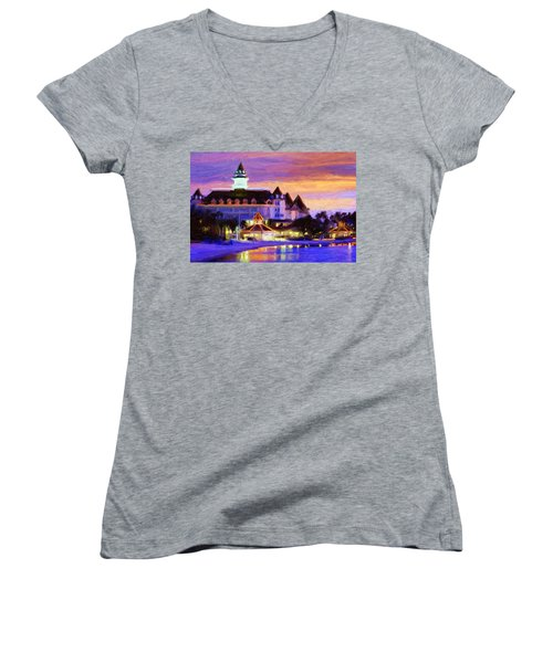 Grand Floridian Women's V-Neck T-Shirt (Junior Cut) by Caito Junqueira
