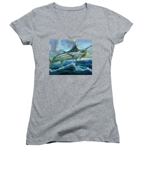 Grand Blue Marlin Jumping Eating Mahi Mahi Women's V-Neck
