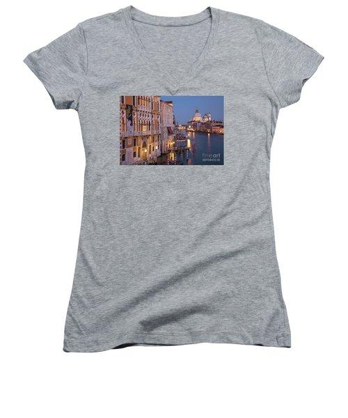 Women's V-Neck T-Shirt (Junior Cut) featuring the photograph Grand Canal Twilight by Brian Jannsen