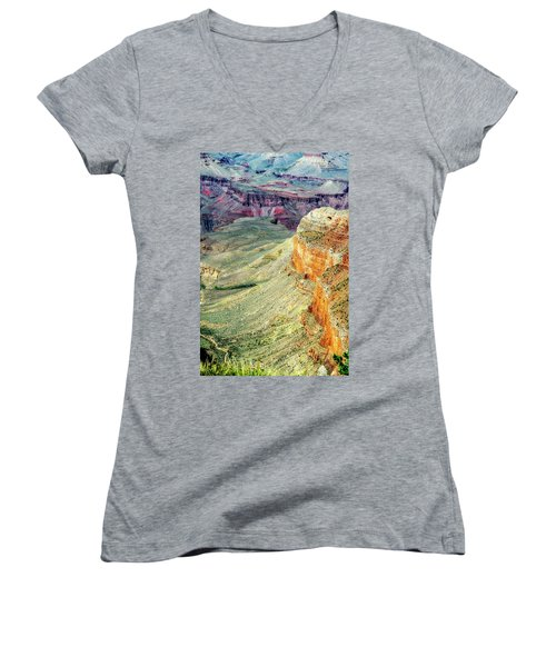 Grand Canyon Abstract Women's V-Neck T-Shirt (Junior Cut) by Robert FERD Frank