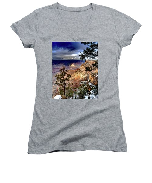 Grand Canyon In Winter Women's V-Neck (Athletic Fit)