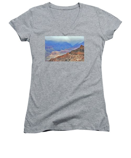 Grand Canyon Levels Women's V-Neck T-Shirt (Junior Cut) by Debby Pueschel