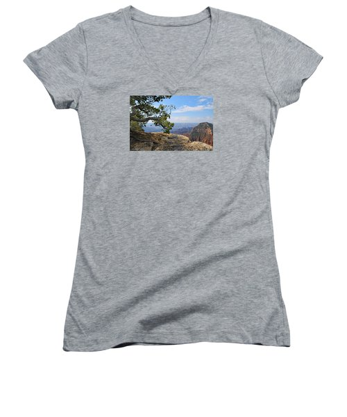 Grand Canyon North Rim Craggy Cliffs Women's V-Neck (Athletic Fit)