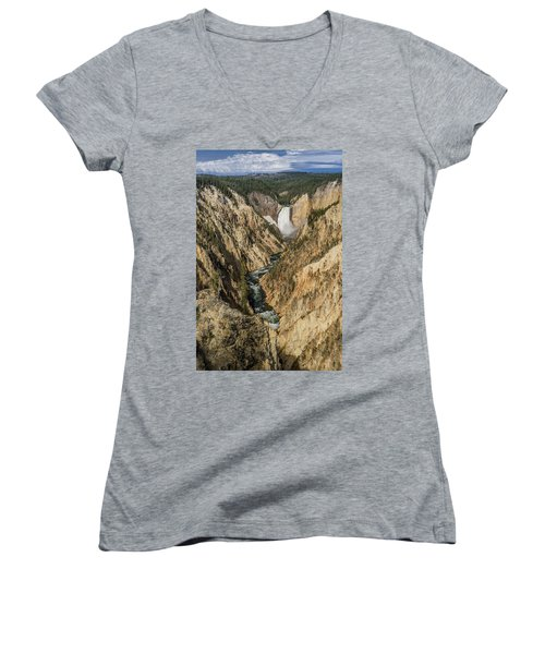 Grand Canyon Of The Yellowstone And Yellowstone Falls Women's V-Neck (Athletic Fit)