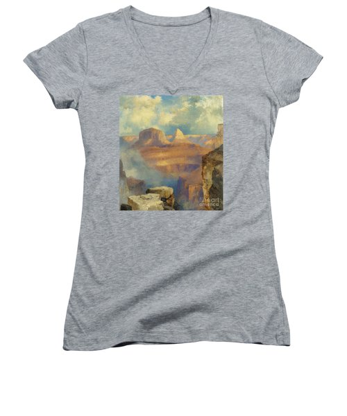 Grand Canyon Women's V-Neck T-Shirt (Junior Cut) by Thomas Moran