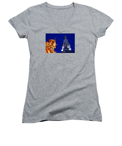 Grand Central Station And Chrysler Building Women's V-Neck T-Shirt (Junior Cut) by James Kirkikis