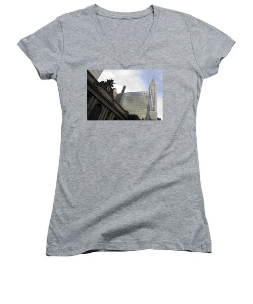 Women's V-Neck T-Shirt (Junior Cut) featuring the photograph Grand Central And The Chrysler Building by Michael Dorn