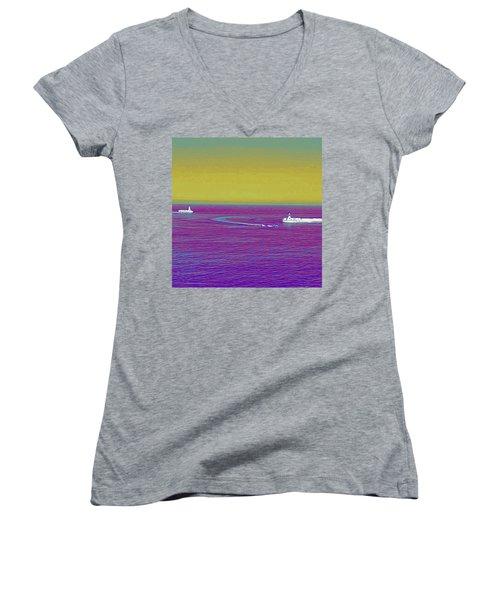 Purple Sea Women's V-Neck (Athletic Fit)