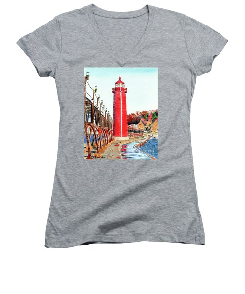 Women's V-Neck T-Shirt (Junior Cut) featuring the painting Grand Haven Autumn by LeAnne Sowa