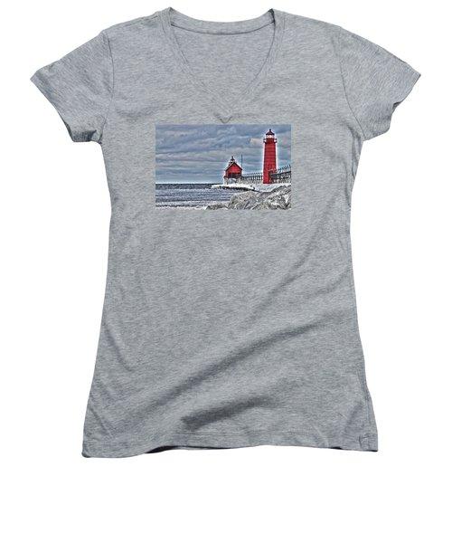 Grand Haven Lighthouse Women's V-Neck T-Shirt